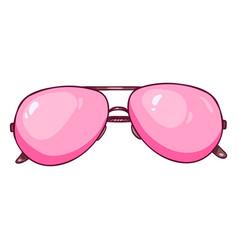 Cartoon pink aviator sunglasses vector