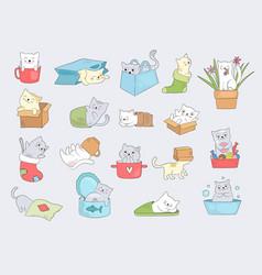 cat in cups relaxing cute little kitty hide in vector image