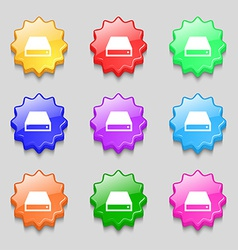 CD-ROM icon sign symbol on nine wavy colourful vector
