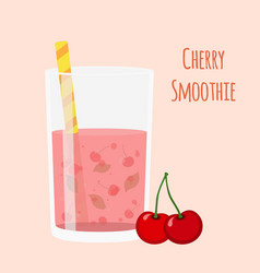 cherry smoothie vegetarian organic detox drink vector image