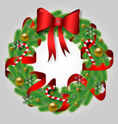 christmas wreath of fir branches with a bow vector image