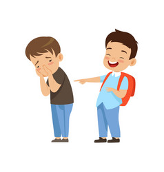 Classmate laughing and pointing at sad boy bad vector