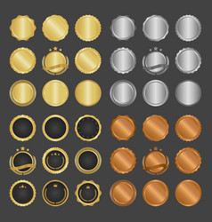 collection modern gold circle metal badges vector image