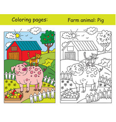coloring and color for children pig vector image