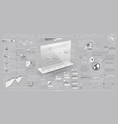 Corporate infographic elements in gray and white vector