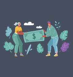 Couple fighting over money vector