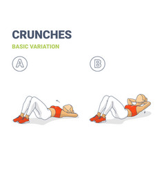 Crunch female workout exercise guide colorful vector