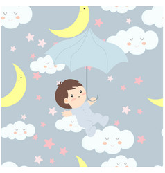 cute cartoon baby in the skybaby shower card vector image