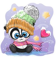 Cute cartoon panda in a knitted cap vector