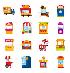 Design and booth icon collection and vector