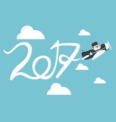 Drawing Airplane in the sky new Year concept vector image