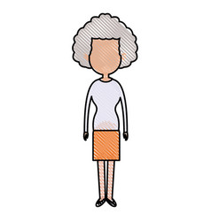 Drawing woman character female standing design vector
