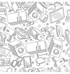 electronics seamless line art design vector image