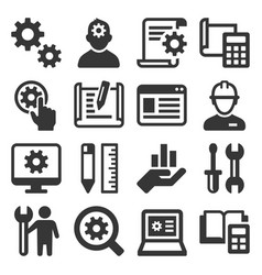 engineering and manufacture icons set on white vector image