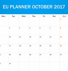 EU Planner blank for October 2017 Scheduler agenda vector