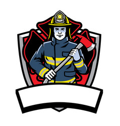 firefighter posing hold the axe badge vector image