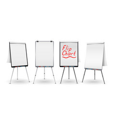 Flip chart set office whiteboard for vector