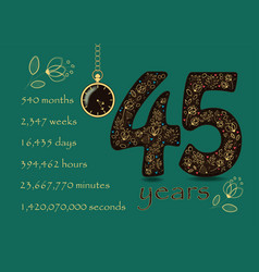floral card number fourty five and pocket watch vector image
