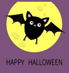 Flying bat silhouette icon happy halloween vector