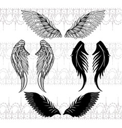 four sketches of wings vector image