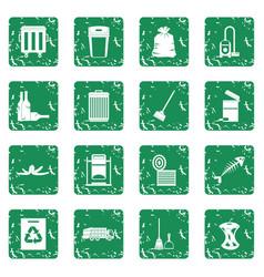 Garbage thing icons set grunge vector