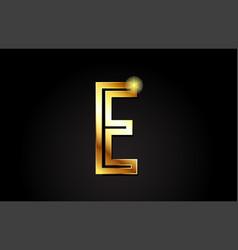 Gold alphabet letter e logo icon design vector