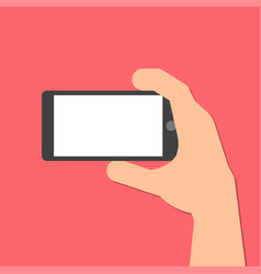 hand holds a smart phone in horizontal position vector image vector image