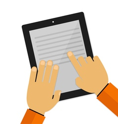 hand touching screen and reading vector image
