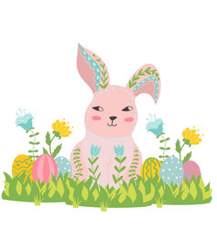 Happy easter bunny flowers and eggs in grass vector