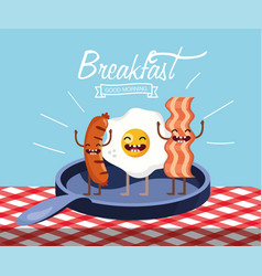 Happy fried egg with sausages and bacon in the pan vector