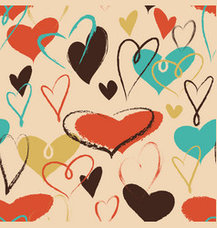 hearts seamless pattern in trendy colors love vector image