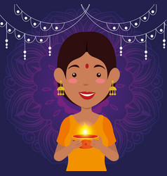 Hindu woman with candle and lights hanging vector