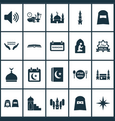 Holiday icons set with people calendar mubarak vector