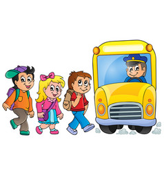 Image with school bus topic 1 vector