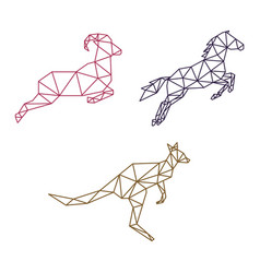 Jumping animal low poly vector