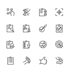 Line icon set related to protocol quality vector