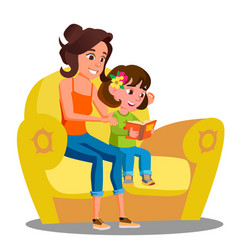 Little girl and mother reads a book on the sofa vector