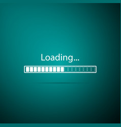 loading icon on green background progress bar vector image