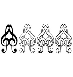 logo musical love sign icon two treble keys form a vector image