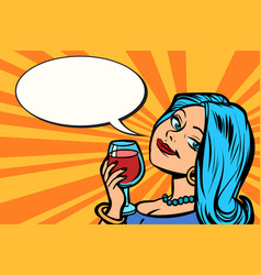lovely woman with a glass of wine vector image