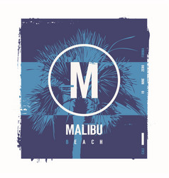 malibu beach graphic t-shirt design poster vector image