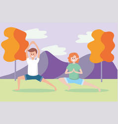 Man and woman practice yoga exercise vector