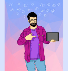 Man standing in shirt and showing tablet pc vector