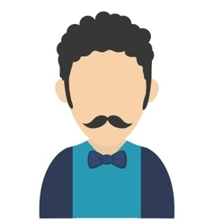 man with curly hair and mustache avatar icon vector image