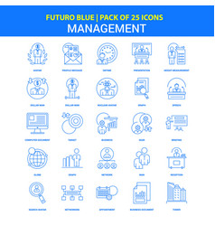 Management icons - futuro blue 25 icon pack vector