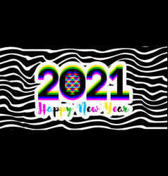 multicolored stereoscopic effect numbers 2021 vector image