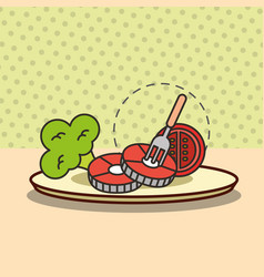 Nutrition food fish tomato and broccoli with fork vector
