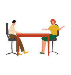 office workers man and woman at meeting table vector image