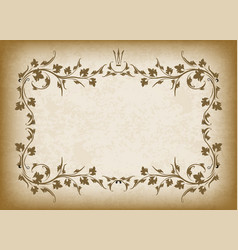old frame with crown on grunge style background vector image