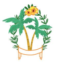 Palms on laurel wreath vector